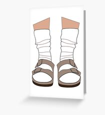 Tarjeta de felicitación Birkenstocks y calcetines