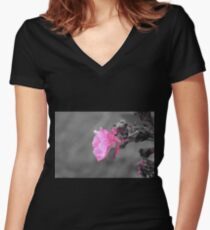 Pink Flower Photo Women's Fitted V-Neck T-Shirt