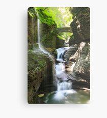 Rainbow Falls and Rainbow Bridge, Watkins Glen State Park, New York Metal Print