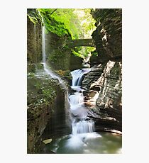 Rainbow Falls and Rainbow Bridge, Watkins Glen State Park, New York Photographic Print