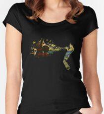 Brauen Tailliertes Rundhals-Shirt