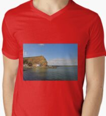Across Staithes Harbour To Cowbar Nab Mens V-Neck T-Shirt