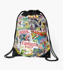 marvel comics pattern Drawstring Bag