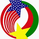 Burkina Faso American Multinational Patriot Flag by Carbon-Fibre Media