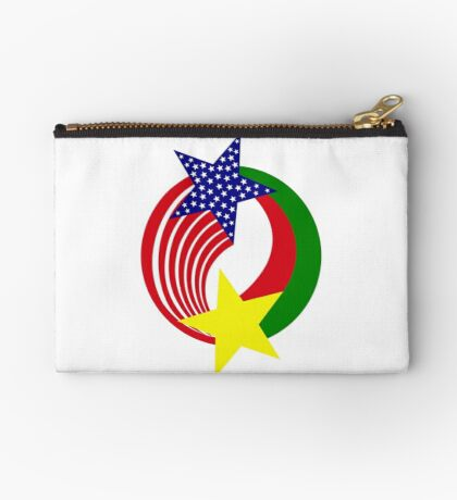 Burkina Faso American Multinational Patriot Flag Zipper Pouch