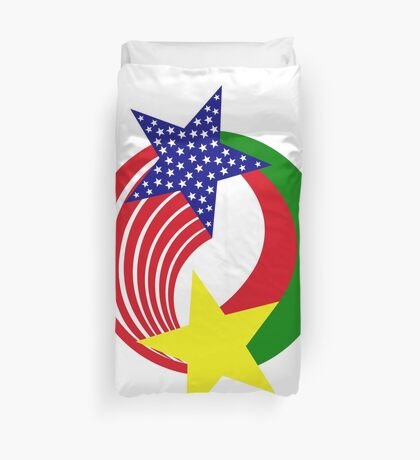 Burkina Faso American Multinational Patriot Flag Duvet Cover