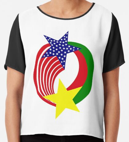 Burkina Faso American Multinational Patriot Flag Chiffon Top