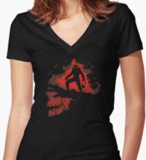 Jungle Hunter Predator Women's Fitted V-Neck T-Shirt