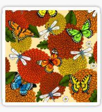 Flowers, Dragonflies, and Butterflies Sticker