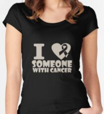 breast cancer I heart someone with cancer support Women's Fitted Scoop T-Shirt