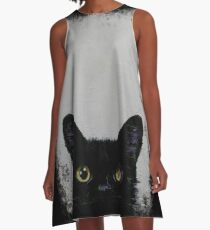 Black Cat A-Line Dress
