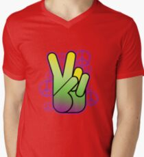 Bright Neon Peace Sign Mens V-Neck T-Shirt