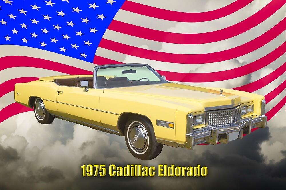 1975 Cadillac Eldorado Convertible And US Flag by KWJphotoart
