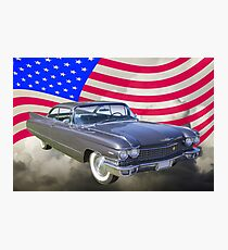 1960 Cadillac Luxury Car And American Flag Photographic Print