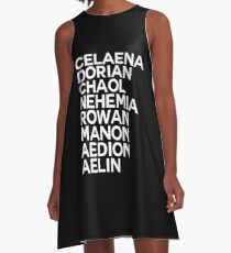 Throne of Glass Group Names Black A-Line Dress