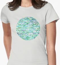 Marble Mosaic in Mint Quartz and Jade Womens Fitted T-Shirt