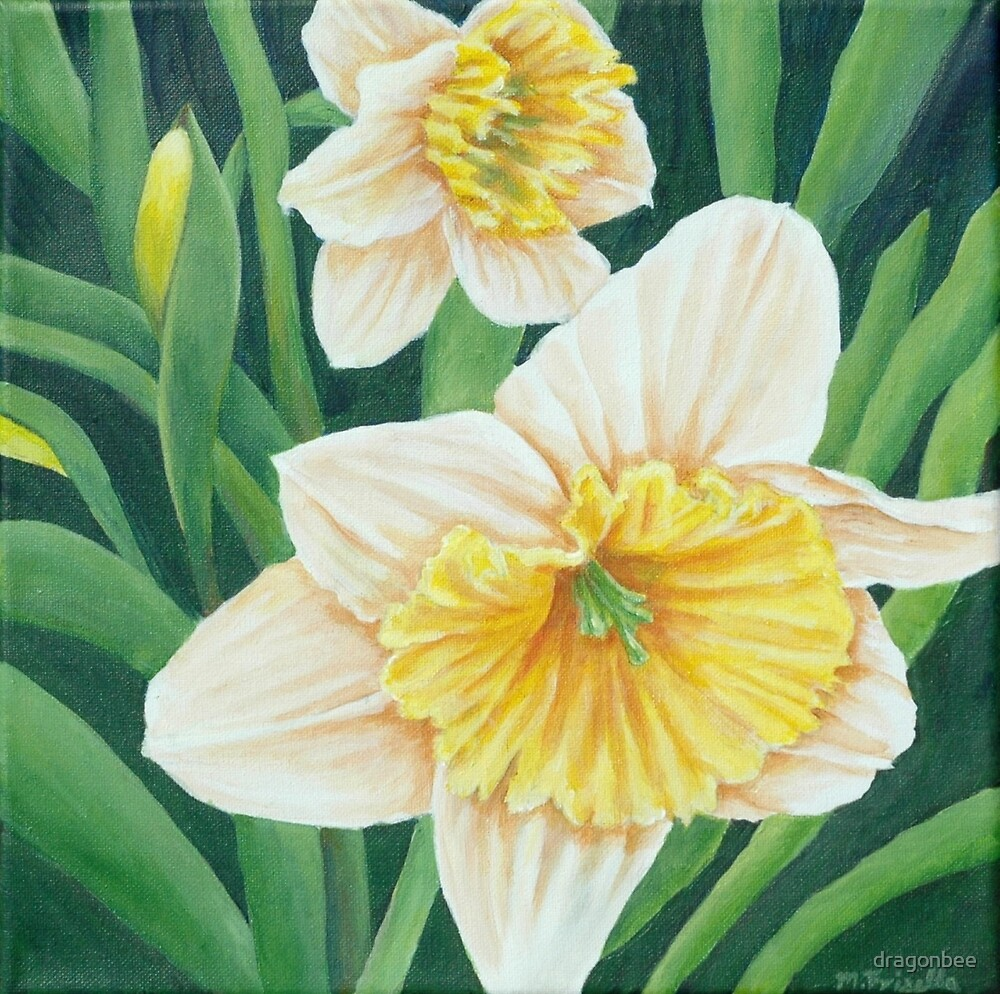 Spring Daffodils Painting by dragonbee