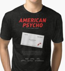 American psycho business card quote t shirts redbubble american psycho batemans blood smeared business card tri blend t shirt colourmoves Gallery