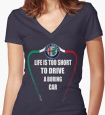 Life is too short to drive a boring car - Alfa TriColore Women's Fitted V-Neck T-Shirt