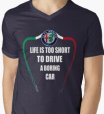 Life is too short to drive a boring car - Alfa TriColore Men's V-Neck T-Shirt