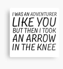 Elder Scrolls Skyrim Funny Quote Arrow To The Knee Metal Print