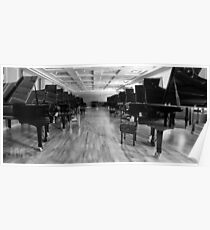 Long Row of Pianos Poster
