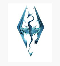 Skyrim blue logo Photographic Print