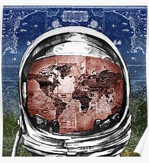 astronaut world map 6 Poster