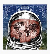 astronaut world map 6 Photographic Print