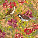 Sweet Sparrows and Briar Rose by lottibrown