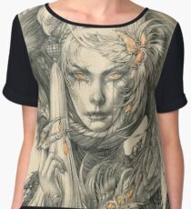 Lady with hawks and amber jewelry Chiffon Top