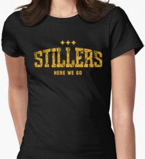 STILLERS DISTRESSED (gold) Womens Fitted T-Shirt