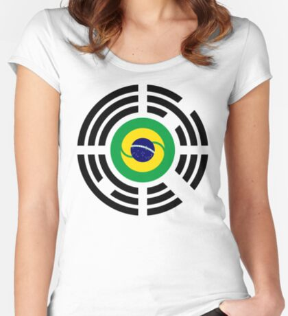 Korean Brazillian Multinational Patriot Flag Series Fitted Scoop T-Shirt
