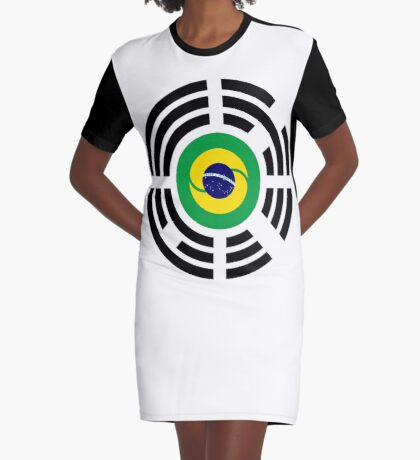 Korean Brazillian Multinational Patriot Flag Series Graphic T-Shirt Dress