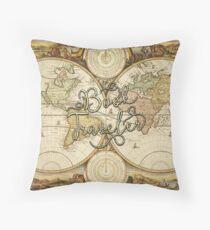 Book Traveler Vintage Map Throw Pillow