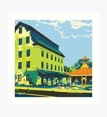 Woolen Mill & Pagoda - Cedarburg WI (bold) SQUARE Art Print