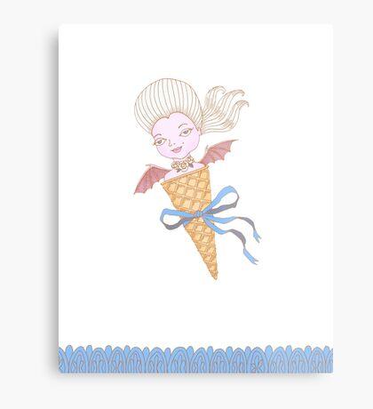 Marie Antoinette Ice Cream Cone with Bat Wings Metal Print