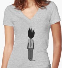 Burning Businessman Women's Fitted V-Neck T-Shirt