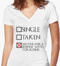 Waiting for a blonde with 3 dragons (black text + cross) Women's Fitted V-Neck T-Shirt