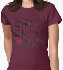Waiting for a blonde with 3 dragons (black text + cross) Womens Fitted T-Shirt