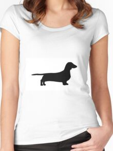 dachshund silhouette Women's Fitted Scoop T-Shirt
