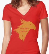 Chocobo is Coming Women's Fitted V-Neck T-Shirt