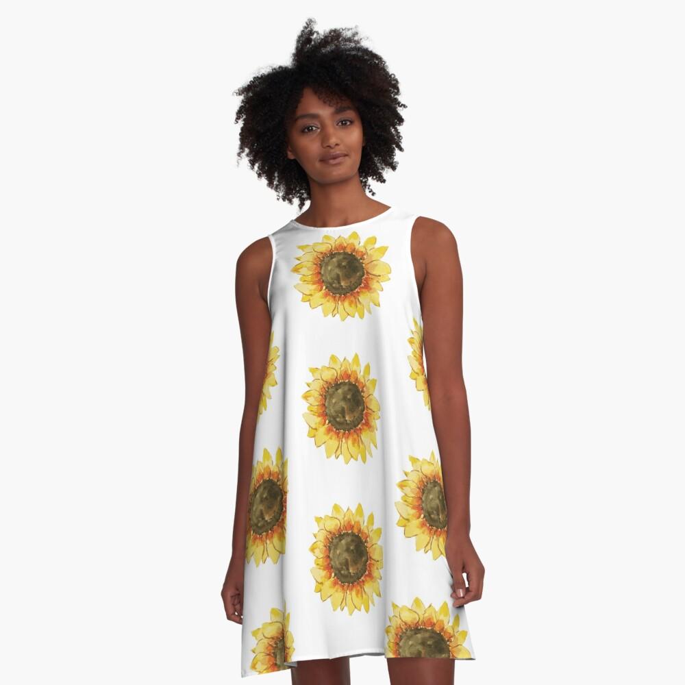 Sonnenblume A-Linien Kleid