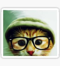 Vintage Cat Wearing Glasses Sticker