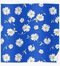deep blue,white spoon flowers Poster