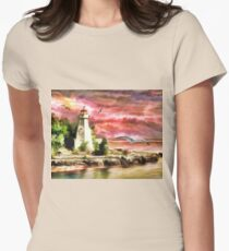 Water painting light house and birds T-Shirt
