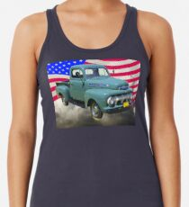 1951 ford F-1 Pickup Truck With American Flag Racerback Tank Top