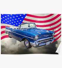 Póster 1957 Chevrolet Bel Air With American Flag