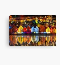 Old Wharf in Bergen Canvas Print