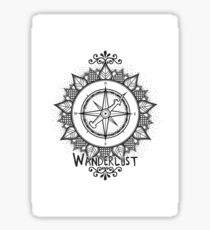 Wanderlust Compass Design - Black Sticker